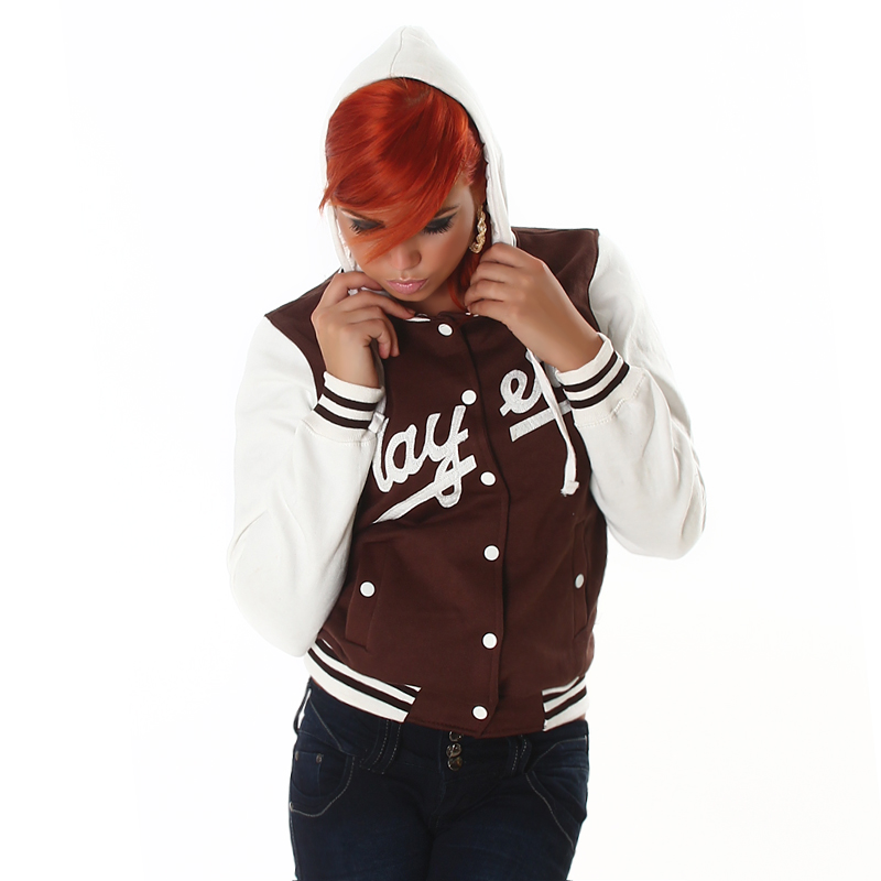 Players Hooded College Baseball Jacket - Brown - S/M - Click Image to Close