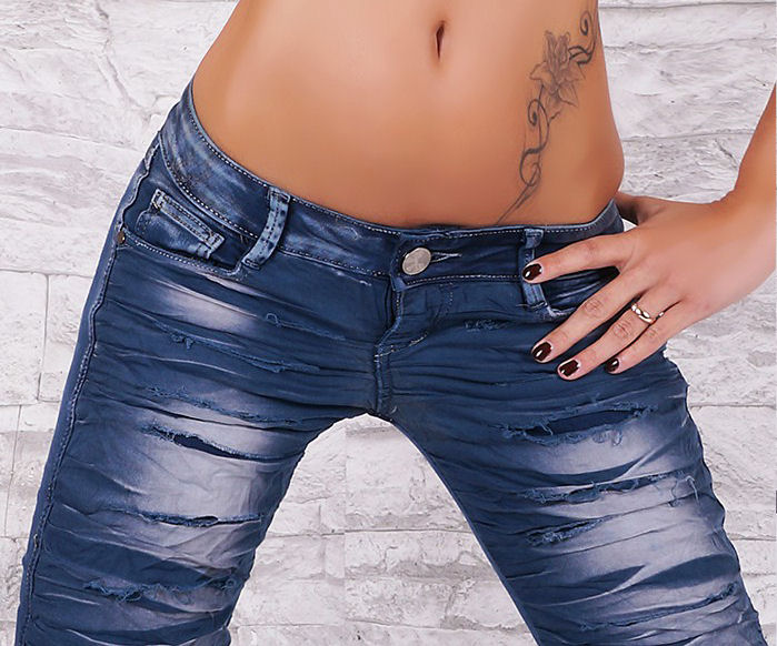 Low Rise Dark Blue Wash Skinny Jeans with Ripped Look - Size L - Click Image to Close
