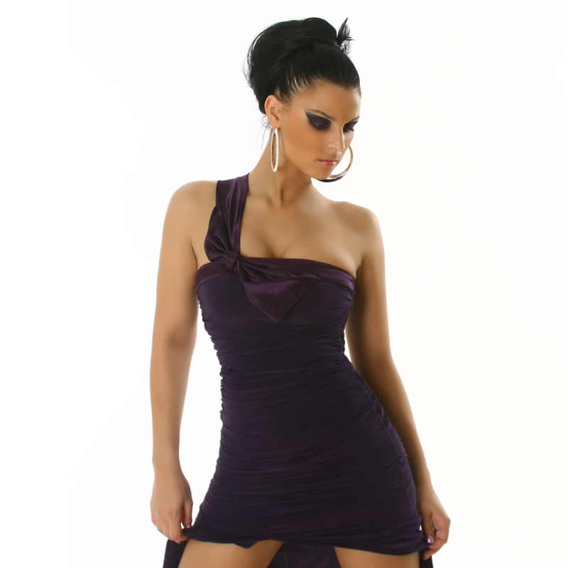 One Shoulder Long Cocktail Dress with Slit - Dark Purple Size S - Click Image to Close