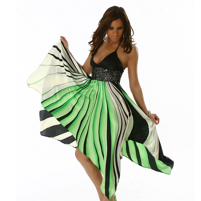 Angled Cut Halter Neck Flowing Gown - Green - Size S/M - Click Image to Close