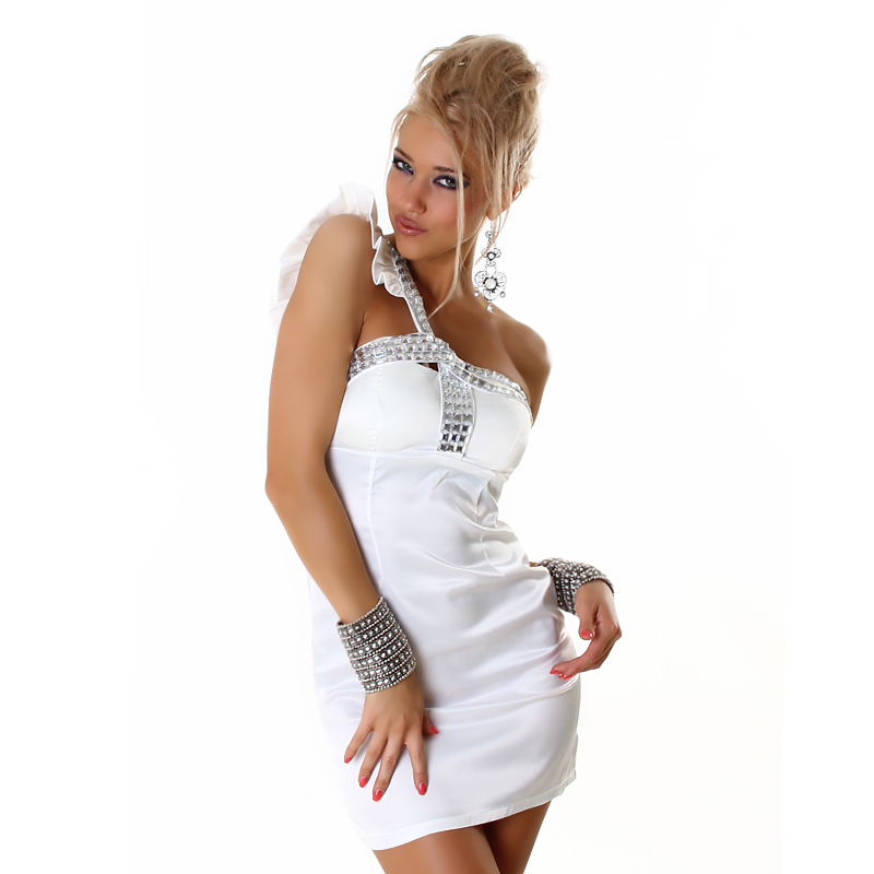 One Shoulder Party Dress with Jewels - White - Size S/M - Click Image to Close