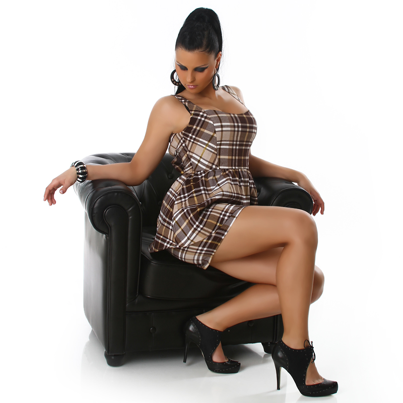 Checkered Mini Dress with Layered Skirt - Brown/Beige - Size S - Click Image to Close
