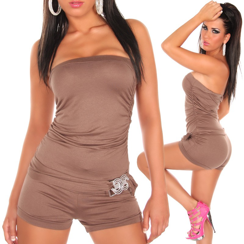Strapless Halter Short Overall with Buckle - Cappuccino - Click Image to Close