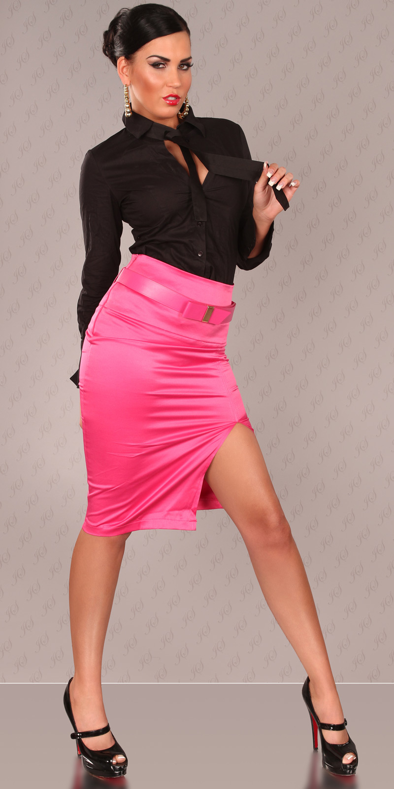 High Waisted Pencil Skirt with Belt - Fuschia - Size M - Click Image to Close
