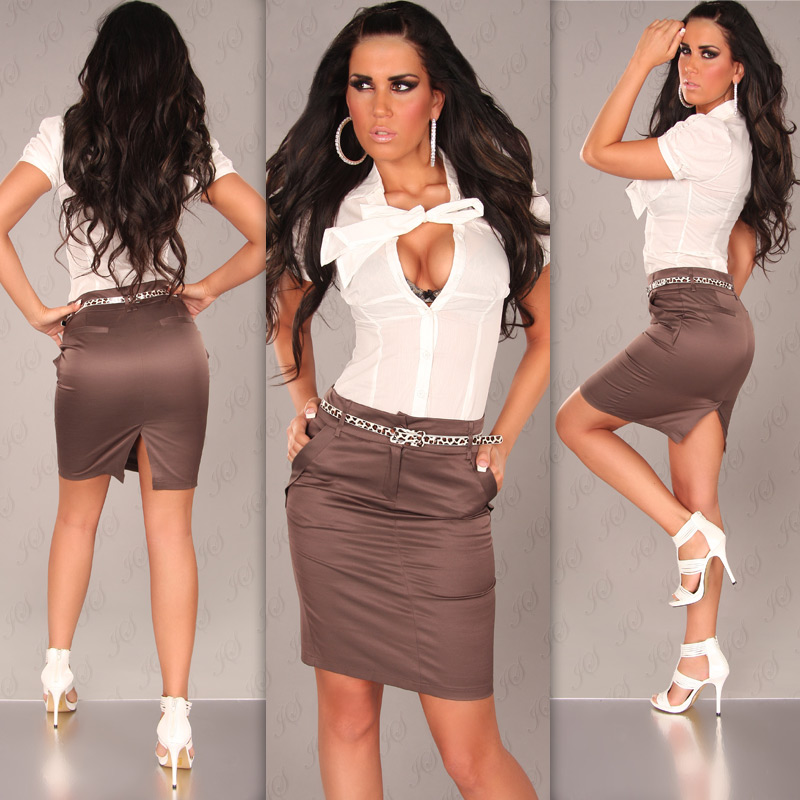 Pencil Skirt with Side Pockets and Leopard Belt - Brown -Size 14 - Click Image to Close