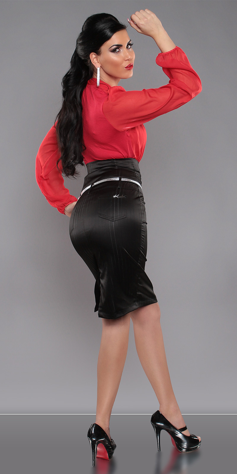 High Waisted Pencil Skirt with Buttons & Belt - Black (S) - Click Image to Close