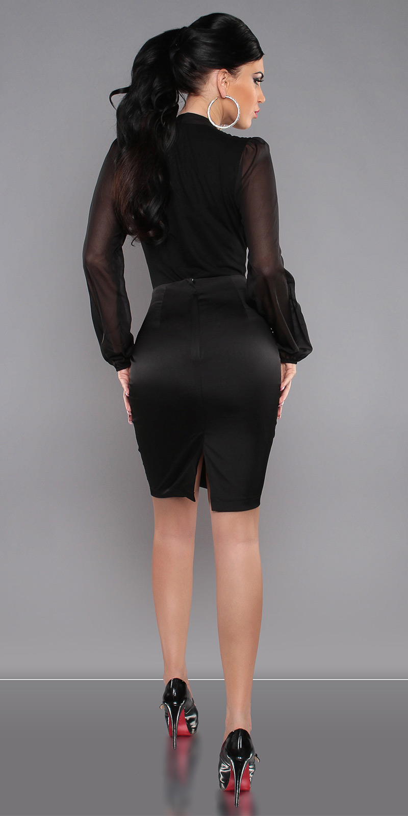 Pencil Skirt with Studs - Black - Size L - Click Image to Close