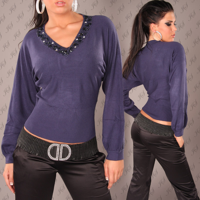 Sweater with Loose Sleeves & Stone Detail - Navy - Size L/XL - Click Image to Close