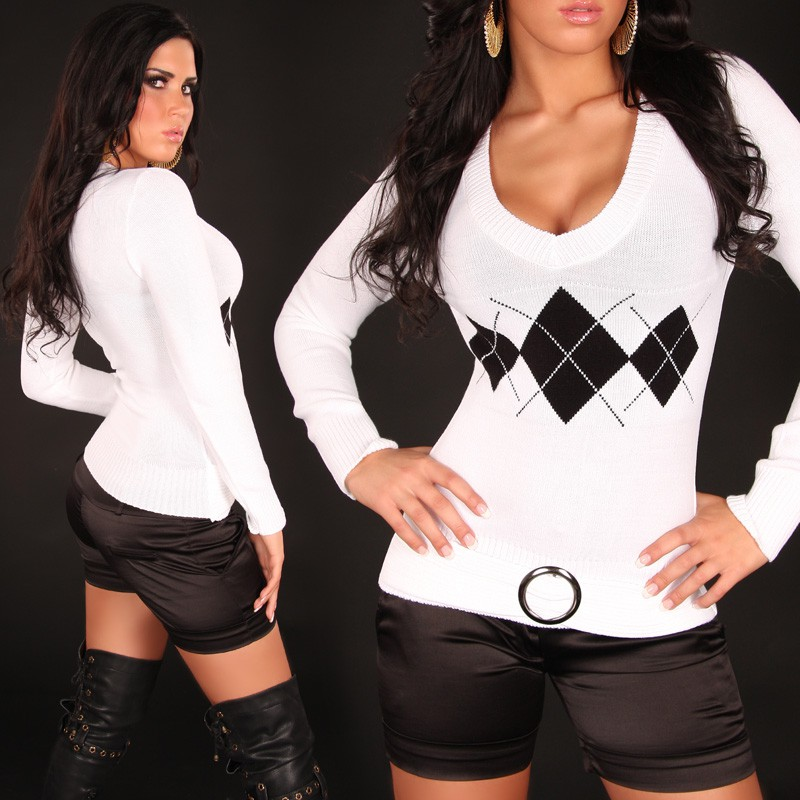 Diamond Pattern Sweater with V-Neck & Buckle - White - S/M - Click Image to Close