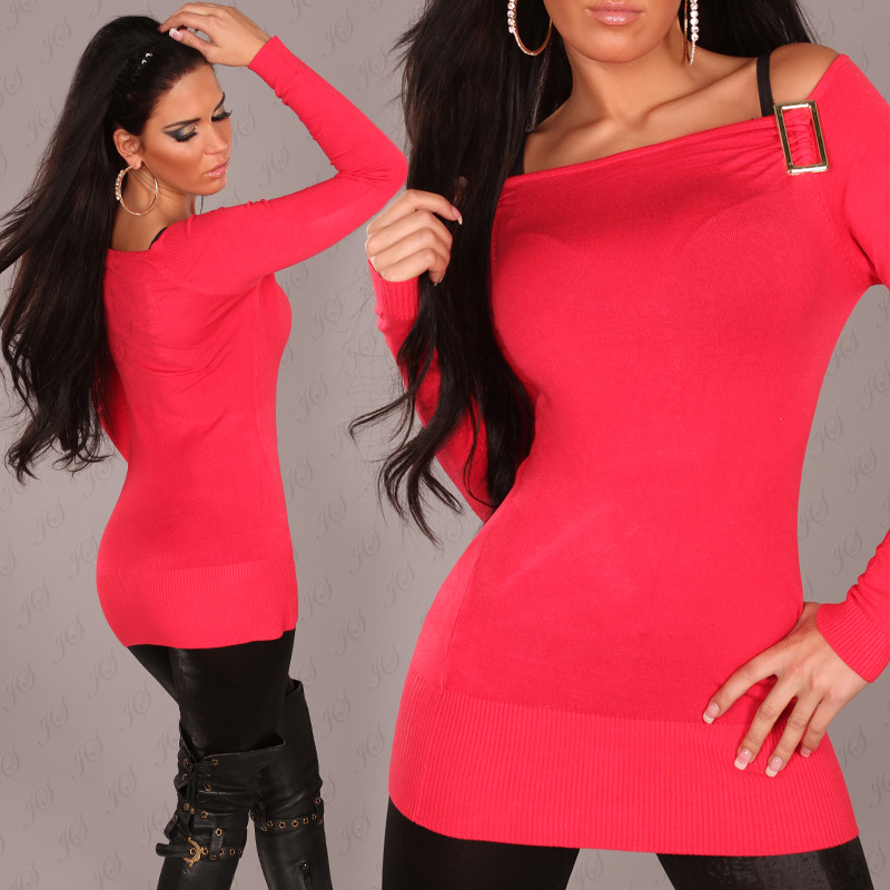 Fine Knit Long Sweater Off Shoulder Cut & Buckle - Raspberry - Click Image to Close