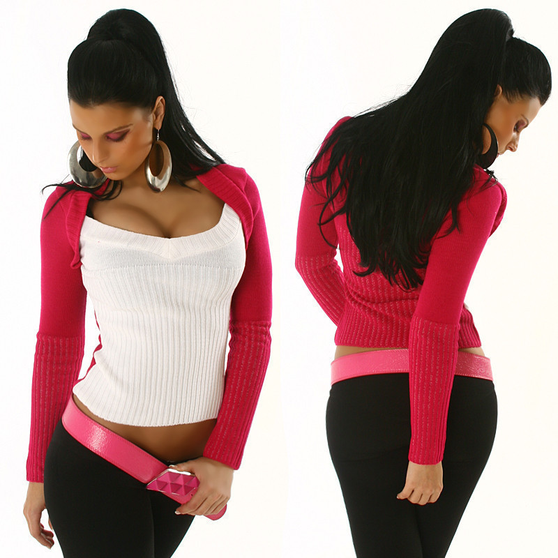 Funky Diva Pink & White 2-Tone Bolero Style Sweater - Size S/M - Click Image to Close
