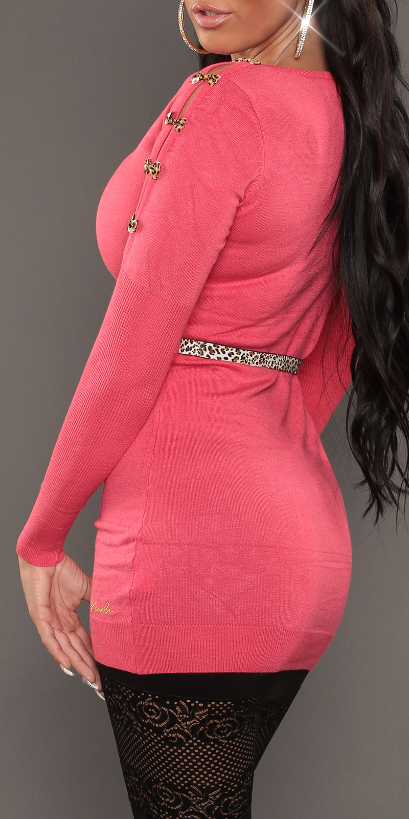 Soft Knit Jumper with Open Shoulders & Leopard Belt - Coral - Click Image to Close