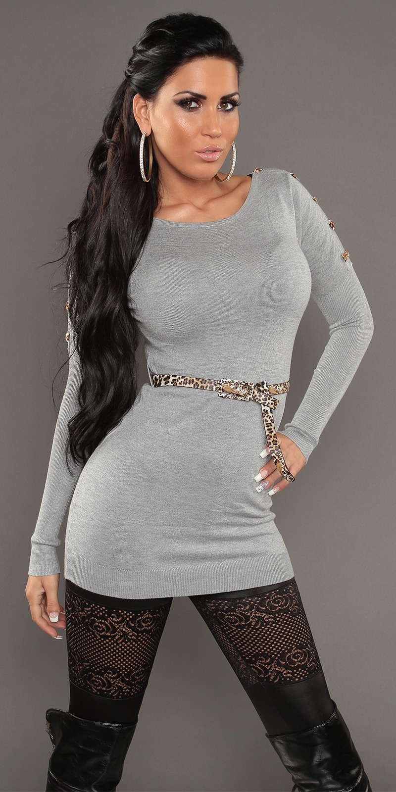 Soft Knit Jumper with Open Shoulders & Leopard Belt - Grey - Click Image to Close