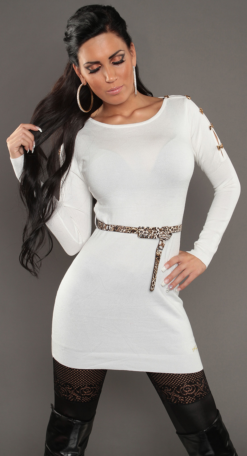 Soft Knit Jumper with Open Shoulders & Leopard Belt - White - Click Image to Close