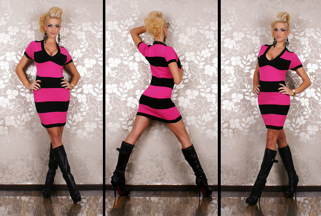 Short Sleeve Knitted Striped Mini Dress/Long Jumper - Pink/Black - Click Image to Close