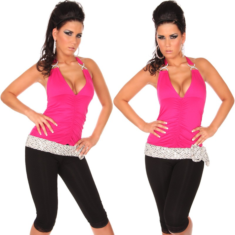 Halter V-Neck Top with Buckles - Fuchsia - Click Image to Close