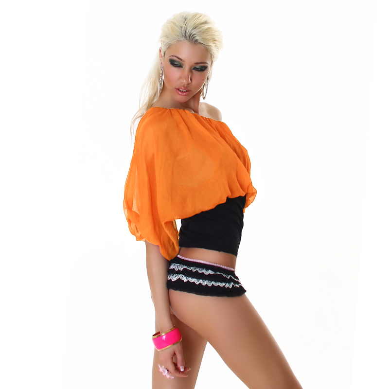 Two-Tone Off Shoulder Top - Black/Orange - Size S/M - Click Image to Close