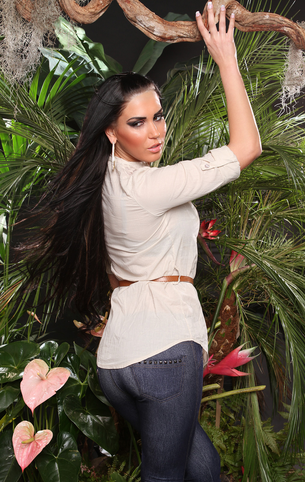 Ladies Shirt with Lace Shoulders & Brown Belt - Beige - Size S - Click Image to Close