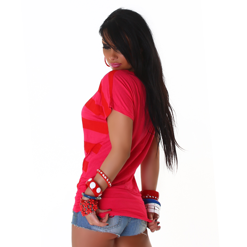 Americana Style T-Shirt/Top with Flag - Dark Pink - Size S/M - Click Image to Close