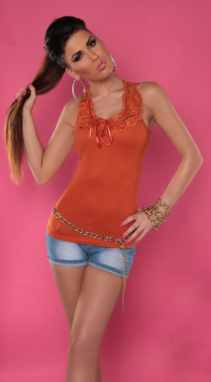 Ladies Ribbed Singlet Tank Top with Lace - Orange - Size L/XL - Click Image to Close